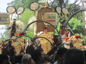 some 5 elephants, 3 in the front row and 2 behind for Sri Bhagawati temple vela (pooram), cherukulangara, Thrissur – day March 28, 2013